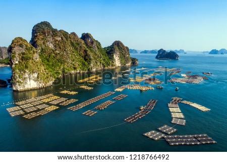 Floating fishing village and rock island in Bai Tu Long bay, Vietnam, Southeast Asia. UNESCO World Heritage Site. Landscape. Popular landmark, famous destination of Vietnam. Near Ha Long bay Royalty-Free Stock Photo #1218766492