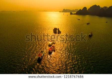 Aerial view of Hon Ga Choi Island(Fighting Cocks Island), or Trong Mai Island (Cock and Hen Island), Halong Bay, Vietnam, Southeast Asia. UNESCO World Heritage Site. Junk boat cruise to Ha Long Bay.  Royalty-Free Stock Photo #1218767686