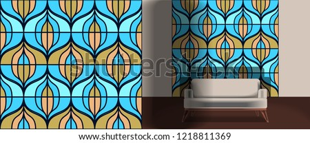 Seamless retro pattern in the style of the sixties. Art deco vintage wallpaper or fabric. Retro interior #1218811369