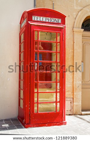 Classic British red phone booth #121889380