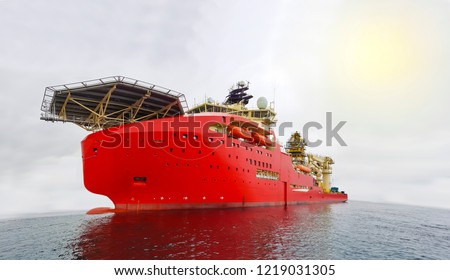 diving support vessel with dynamic positioning systems in calm sea with isolated background Royalty-Free Stock Photo #1219031305