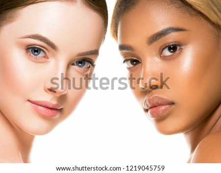 Ethnic women faces close up with healthy skin beautiful and natural #1219045759