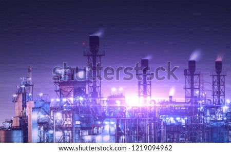 Double exposure of Industrial Oil and gas at night view background,Refinery factory,Petrochemical plant area and pipeline tower. #1219094962