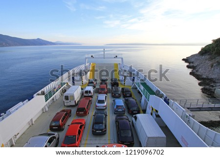Merag, Croatia - May 18, 2010: Ferry Boat Loaded With Cars in Merag Port at Cres Island, Croatia. #1219096702