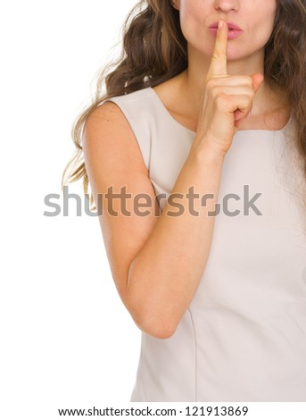 Closeup on woman showing shh.. gesture #121913869