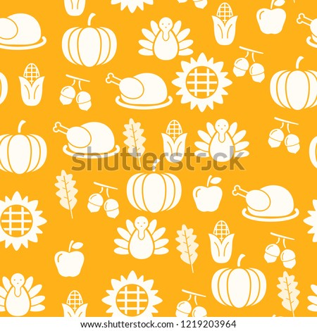 Autumnal Thanksgiving orange seamless pattern with turkeys illustration