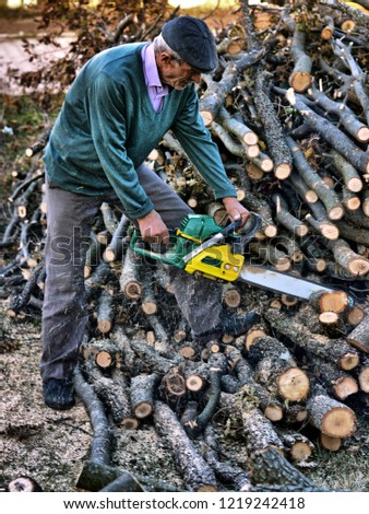 elderly rural Turkish man sawing log with chainsaw for winter in a small town of Turkey. #1219242418