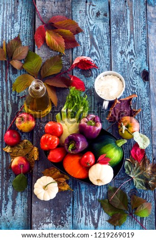 Autumn vegetables on the table #1219269019