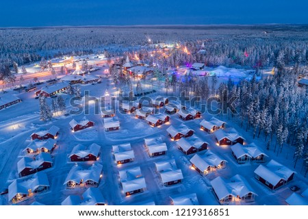 Aerial night view of Santa Claus Village in Rovaniemi in Lapland in Finland. #1219316851