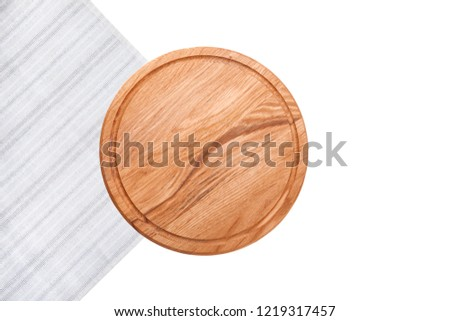 Pizza board with white table cloth isolated on white background. Top view mock up. #1219317457