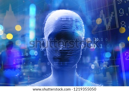 Artificial Intelligence. The head of a man. In the background graphics. #1219355050