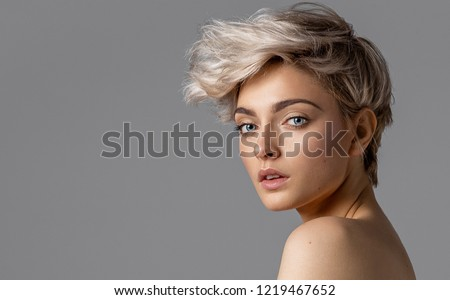 Beauty portrait of fashion young model with short hair #1219467652