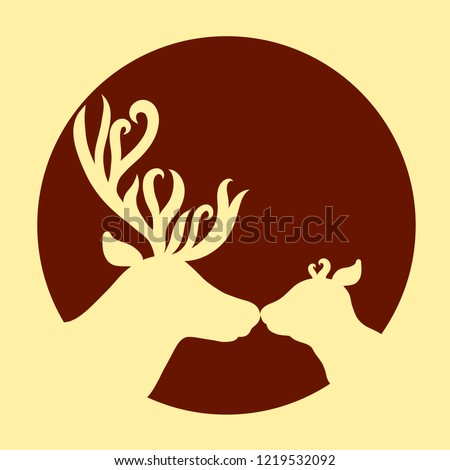 Cute deer family, affectionate kiss, background with a round frame #1219532092