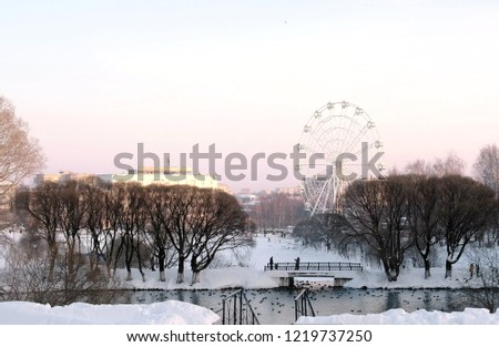 Ferris wheel in winter Park with pond on city background. Pink sunset sky. #1219737250