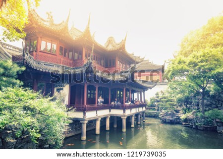 Ancient temples of the Yuan Garden in Shanghai, China. Colorful travel background. #1219739035
