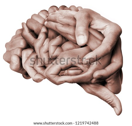 A human brain made with hands, different hands are wrapped together to form a brain. Colored with white background. #1219742488