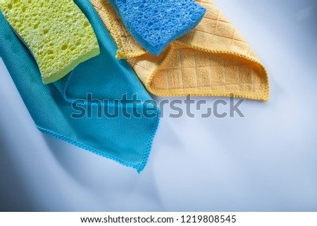 Cleaning household washcloth sponges on white background. #1219808545