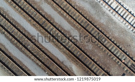 Aerial top down picture of classification yard railway track is railroad gathering found at some freight train stations used to separate rail cars onto one of several tracks