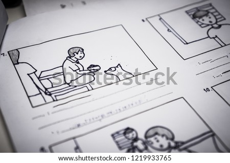 Story board or storytelling drawing cartoon creative for film process pre-production media films movie script for video editors on paperwork
