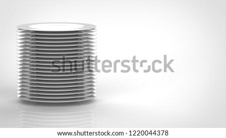 dish pile up left 3d rendering #1220044378