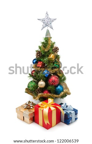 Christmas tree and gift boxes on a white background #122006539