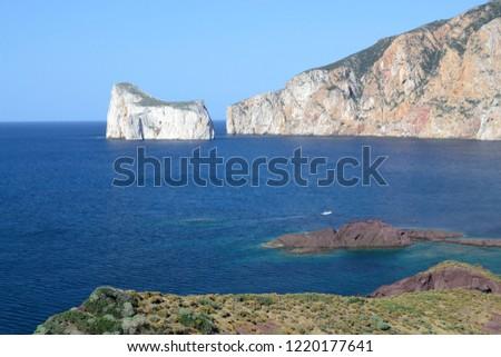 Coast of Nebida, in the backgrounf Pan di Zucchero #1220177641