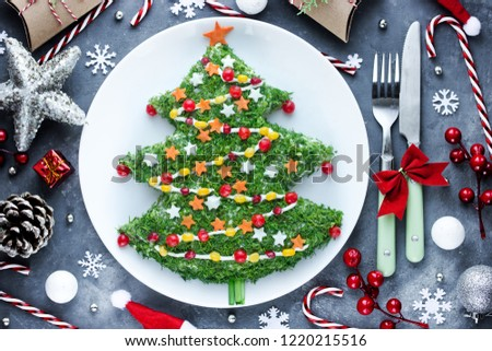 Christmas new year meal idea - creative appetizer salad like a christmas tree with festive decoration from greens and vegetables  #1220215516