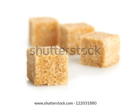 Brown cane sugar cubes  isolated on white background #122031880
