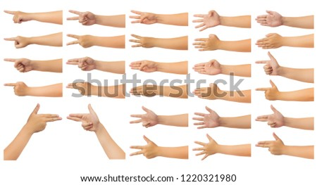 Set of human hand in reach out one's hand and counting numbers, gun or pointing sign gesture isolate on white background with clipping path, Low contrast for retouch or graphic design #1220321980