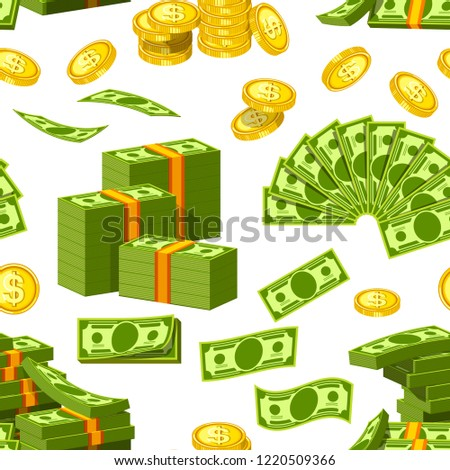 Dollars and cents money banknotes and golden cents coins icons seamless pattern. Vector paper and coin money piles and heaps for banking finance business or casino poker jackpot cash win game #1220509366