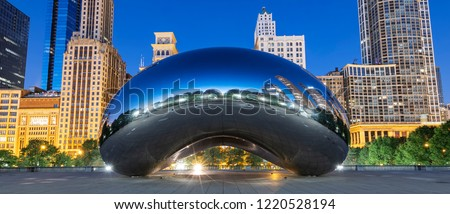 CHICAGO, ILLINOIS/USA-OCTOBER 13 2018: image of the Cloud Gate or The Bean in the morning October 13 2018 in Millennium Park, Chicago, Illinois #1220528194