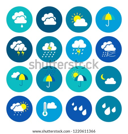 Modern weather flat icons set. Flat vector symbols on coloured backgrounds. #1220611366