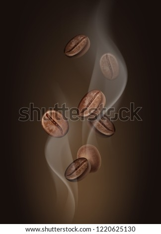 Vector illustration of aromatic coffee beans in hot steam close-up isolated on dark background. Abstract composition depicting the aroma of coffee #1220625130