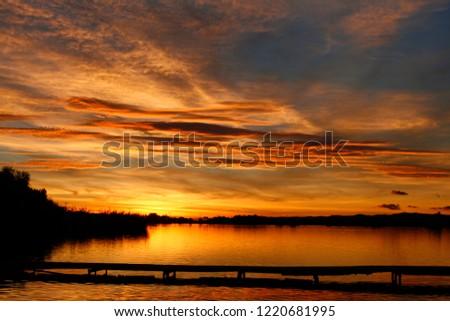 Autumn sky at sunset #1220681995
