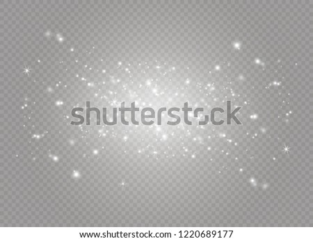 Dust white. White sparks and golden stars shine with special light. Vector sparkles on a transparent background. Christmas abstract pattern. Sparkling magical dust particles. #1220689177