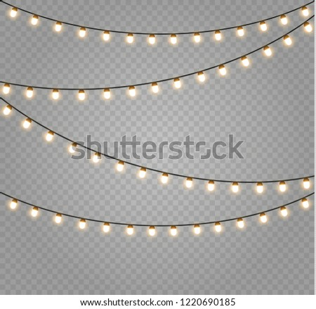 Christmas lights isolated realistic design elements. Glowing lights for Xmas Holiday cards, banners, posters, web design. Garlands decorations. Led neon lamp #1220690185
