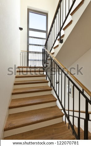 beautiful apartment, interior, wooden staircase #122070781