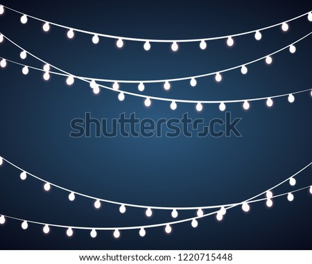 Colourful Glowing Christmas Lights. Vector illustration #1220715448