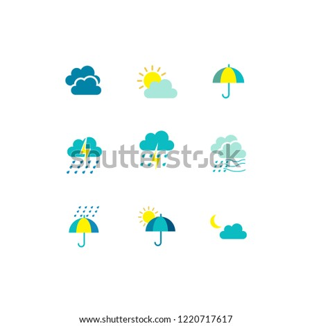 Modern weather flat icons set. Flat vector symbols on coloured backgrounds. #1220717617