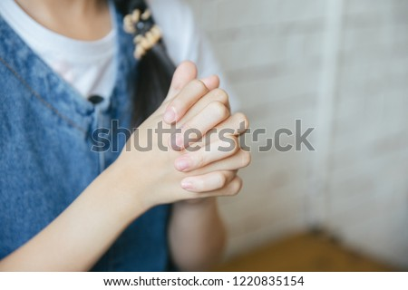 prayer hand  praying to God for happy life in concept christian  #1220835154