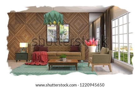 interior sketch design of living room. 3D #1220945650