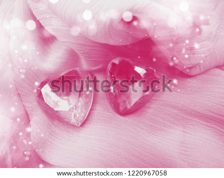 greeting card love valentine's day with heart gem crystal on silky background #1220967058