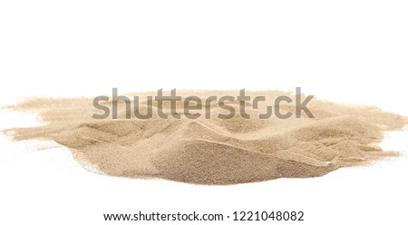 Desert sand pile, dune isolated on white background and texture, with clipping path Royalty-Free Stock Photo #1221048082