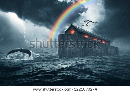 Noah's ark story, masterpiece of art created using four photos, the ark was made with custom shapes, color gradients, brushes and custom wood textures.   #1221090274