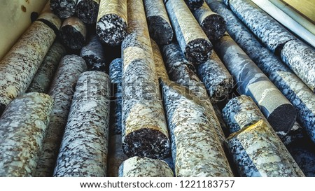 Geological core samples Royalty-Free Stock Photo #1221183757