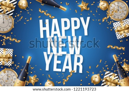 Happy New Year Background Vector. Greeting Card Design Template. Vector Illustration #1221193723