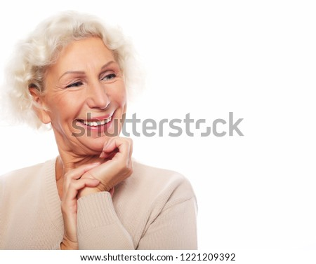 lifestyle, emotion and people concept: Grey haired old nice beautiful laughing woman. Isolated over vwhite background. #1221209392