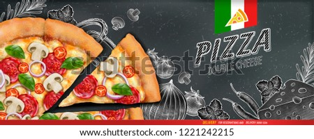 Pizza banner ads with 3d illustration food and woodcut style illustration on chalkboard background #1221242215