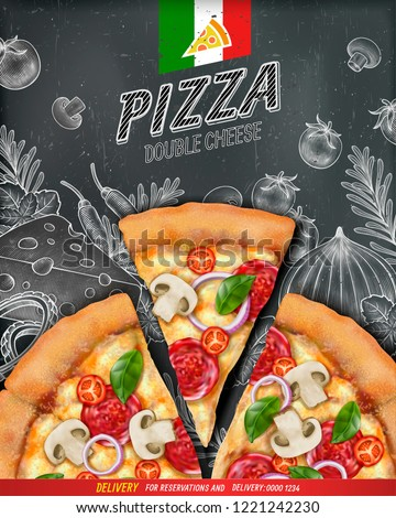 Pizza poster ads with 3d illustration food and woodcut style illustration on chalkboard background, top view #1221242230