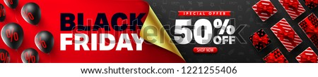 Black Friday Sale Promotion Poster or banner with open gift wrap paper concept.Special offer 50% off sale in black and red style.Promotion and shopping template for Black Friday #1221255406